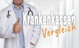 Krankenkassen Vergleich in german Health insurance comparison Royalty Free Stock Photos