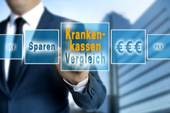 Krankenkassen Vergleich in german Healthcare comparison, save Royalty Free Stock Photo