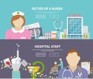 Krankenschwester Banner Set Lizenzfreie Stockfotografie