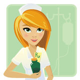 Krankenschwester, die Medizin in der Flasche hält stockfotos