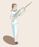 Krankenschwester, die mit steht Lizenzfreies Stockfoto