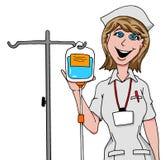 Krankenschwester, die Tropfenfänger IV vorbereitet Lizenzfreies Stockbild