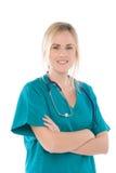 Krankenschwester getrennt auf Weiß mit grüner Uniform Stockbild
