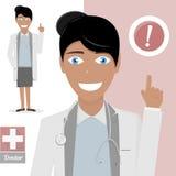 Krankenschwester kleidete in einem weißen Laborkittel und in einem Stethoskop an, die Rat geben Arzt mit dem Zeigen des Fingers Stockbild