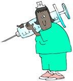 Krankenschwester mit einer riesigen Spritze stock abbildung