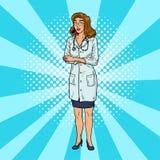 Krankenschwester Pop Art Schöne und intelligente medizinische Frau Komische Doktorhäusliche pflege Retro- Illustration der Weinle Stockbilder