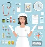 Krankenschwester Showing Medical Tools und Medikament stock abbildung