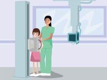 Krankenschwesterradio, der den Kinderpatienten graphying ist Stockbild