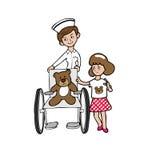 Krankenschwesterrollstuhlbär und -mädchen Lizenzfreie Stockfotos