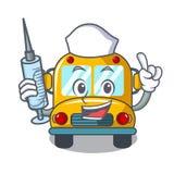 Krankenschwesterschulbus-Charakterkarikatur Stockfoto