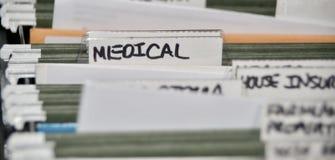 Krankenversicherungs-Dateien und Aufzeichnungen lizenzfreies stockfoto