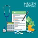 Krankenversicherungs-Formkonzept-Vektorillustration Füllende medizinische Dokumente Stethoskop, Drogen, Geld, Taschenrechner stock abbildung