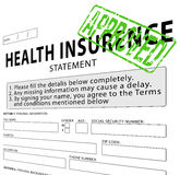 Krankenversicherungsaussage mit Grün genehmigtem Stempel Stockfoto