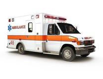 Krankenwagen auf weißem Hintergrund Stockfoto