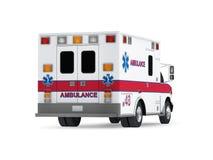 Krankenwagen-Auto lokalisiert auf weißem Hintergrund. Hintere Ansicht Stockfoto