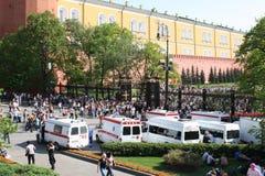 Krankenwagen der öffentlichen Sicherheit während des Feiertags stockfoto