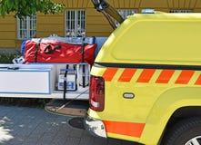 Krankenwagen und Ausrüstungen stockfotos