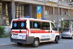Krankenwagenauto in Belgrad, Serbien Stockfotografie