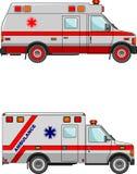 Krankenwagenautos herein lokalisiert auf weißem Hintergrund Lizenzfreie Stockfotografie