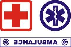 Krankenwagenikonen Lizenzfreie Stockfotos