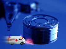 Krankenwagenkonzept - Technologiegesundheitspflege lizenzfreies stockfoto