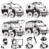 Krankenwagennotpolizei-Löschfahrzeugbus Stockfotografie