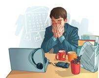 Kranker Geschäftsmann. Karikaturgraphik, die einen kranken Mann darstellt Stockbild