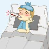 Kranker Junge, der auf dem Bett liegt Lizenzfreie Stockfotos