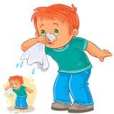 Kranker kleiner Junge, der seine Nase in einem Taschentuch, Atmungsallergie durchbrennt lizenzfreie abbildung