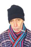 Kranker Mann auf Weiß Stockbild
