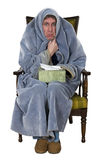 Kranker Mann mit Husten, Kälte, Grippe getrennt Lizenzfreies Stockbild