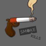 kranker Mann mit Zigarette Stockfotografie