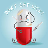 Kranker und Schmerzkarikatur auf Kapsel Lizenzfreie Stockfotografie
