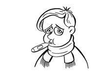 Krankes Kind Kranker Junge mit einem Thermometer in seinem Mund Lizenzfreie Stockbilder