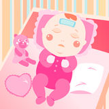 Krankes Schätzchen auf dem Bett Lizenzfreie Stockfotografie