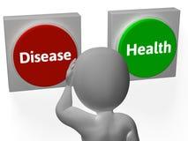 Krankheits-Gesundheits-Knopf-Show-Krankheit oder Medizin Stockfoto