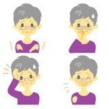 Krankheits-Symptome 01, alte Frau stock abbildung