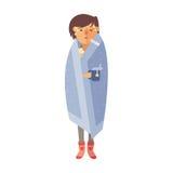 Krankheitsgrippe-Frauengefühl, das seine Nasenvektorillustration kalt und durchgebrannt worden sein würden lizenzfreie abbildung