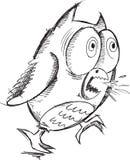 Krankzinnig Gek Owl Vector Royalty-vrije Stock Afbeeldingen