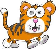 Krankzinnig Gek Tiger Vector Royalty-vrije Stock Afbeelding