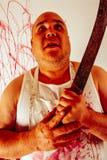 Krankzinnige bloedige slager Stock Afbeeldingen
