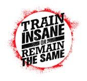 Krankzinnige de trein of blijft het Zelfde Training en Geschiktheidsmotivatiecitaat Creatief Vectortypografieconcept stock illustratie