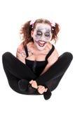 Krankzinnige vrouwelijke clown voor wit royalty-vrije stock foto