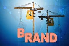 Kranlyftande märkesbokstäverna på kommersiellt begrepp vektor illustrationer