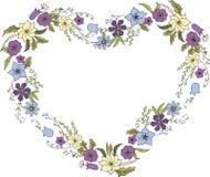 Krans av blommor i klotterstil i form av en hjärta Blommaram i vektor på vit bakgrund royaltyfri illustrationer