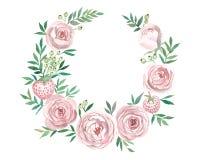 Krans av blommor i vattenfärgstil med vit bakgrund stock illustrationer