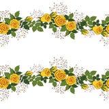Krans av gula rosor Vektor Illustrationer