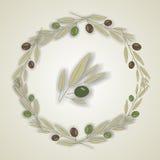 Krans av olivgröna sidor, vektor stock illustrationer