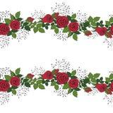 Krans av röda rosor Royaltyfri Illustrationer