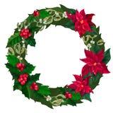 Krans för glad jul, garnering för nytt år med mistel, järnek och julstjärnaväxt stock illustrationer